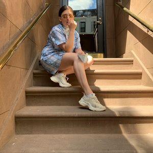 ASOS M TShirt Dress Snakeskin Blue Pink White M